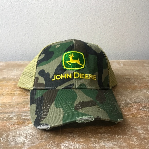 JOHN DEERE LOGO CAMO WINTER YOUTH BALL CAP HAT NEW